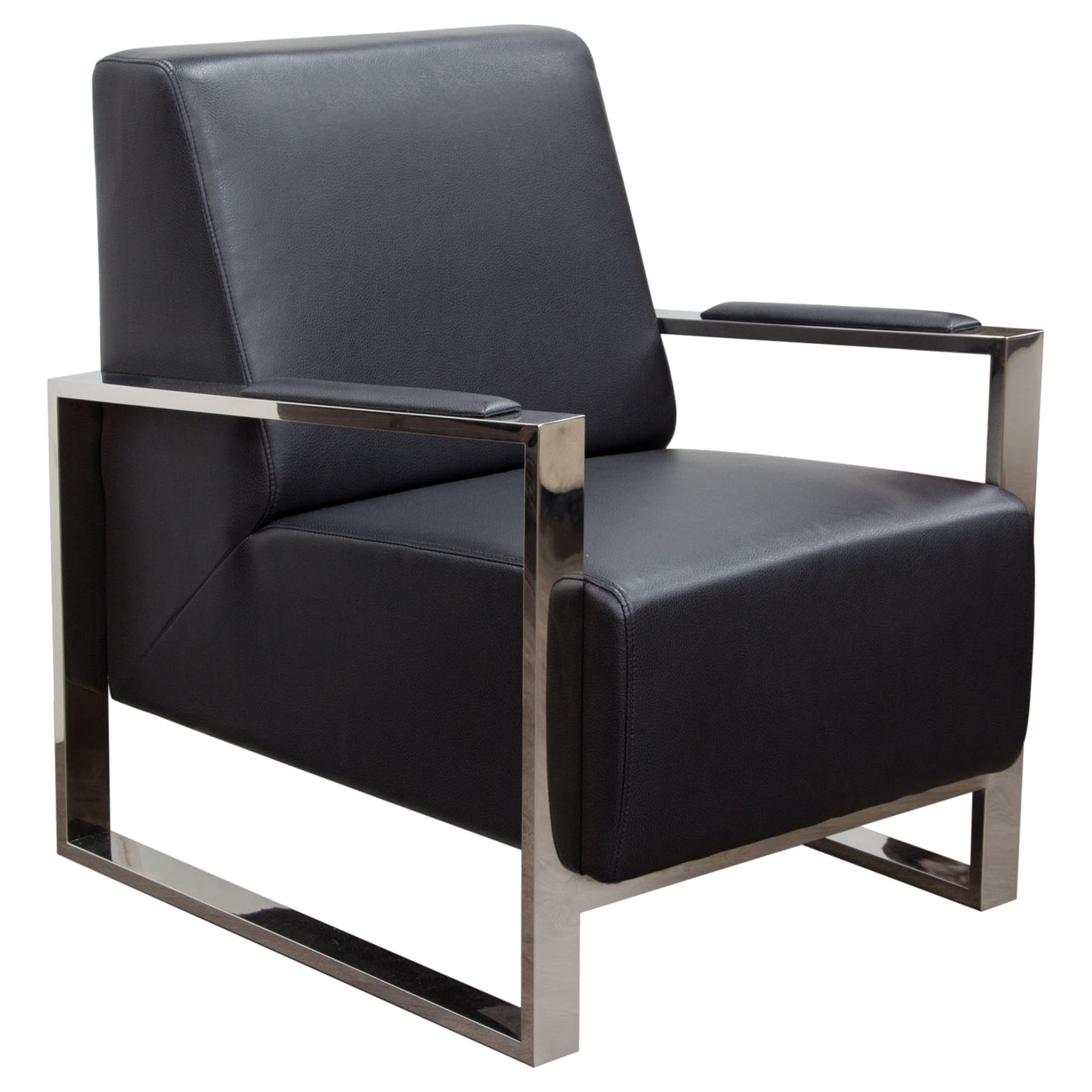 Century Bonded Leather Armchair   Black, Stainless Steel   DS CENTURYCHBL  ...