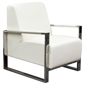 Century Bonded Leather Armchair - White, Stainless Steel