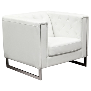 Chelsea Leatherette Chair - Tufted, White