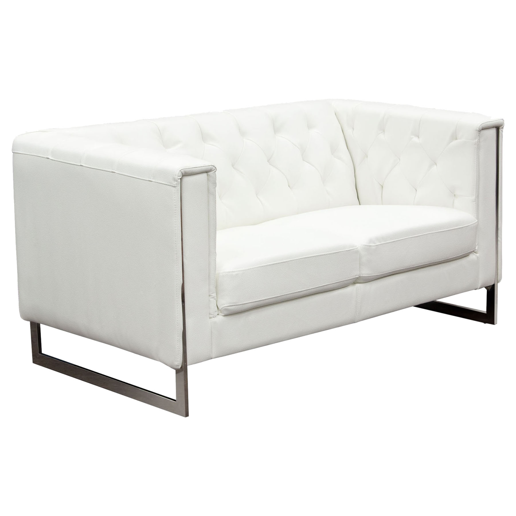 Chelsea leatherette loveseat and sofa set tufted white for Tufted couch set