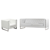 Chelsea Leatherette Sofa and Chair - Tufted, White - DS-CHELSEASCWH