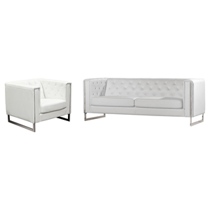 Chelsea Leatherette Sofa and Chair - Tufted, White