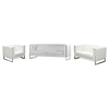 Chelsea 3 Pieces Leatherette Sofa Set - Tufted, White - DS-CHELSEASLCWH