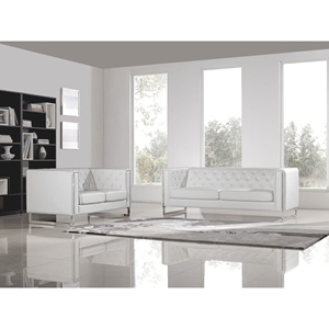 Chelsea Leatherette Loveseat and Sofa Set - Tufted, White