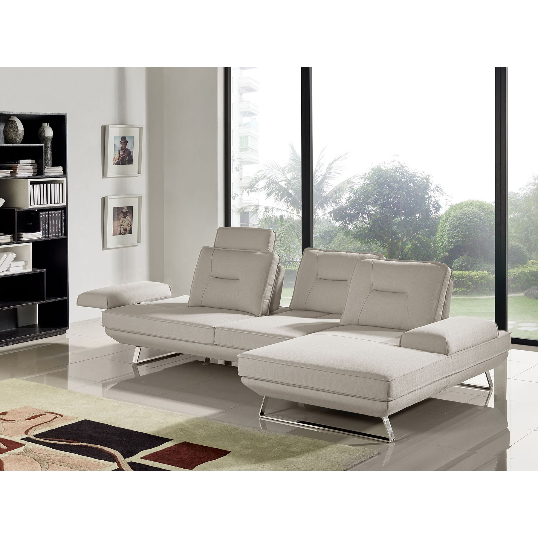 Contempo 2 Piece Sectional With Left Arm Facing Sofa   Adjustable Backrest,  ...
