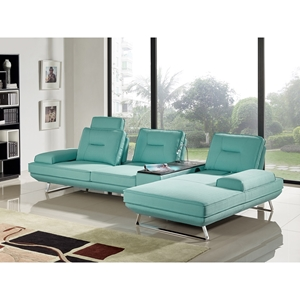 Contempo 3-Piece Sectional - Left Arm Facing Sofa, Adjustable Backrest, Seafoam