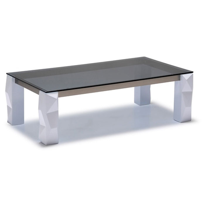 Rectangle Glass Top Cocktail Table with Lacquer Leg - DS-CT752BX