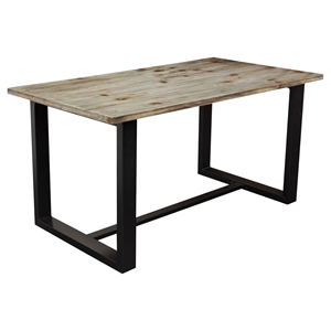 Dakota Rectangular Dining Table - Weathered Gray, Black