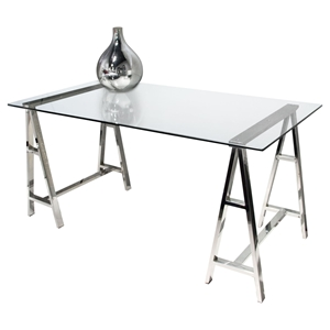 Deko Office Desk - Clear Tempered Glass Top, Stainless Steel
