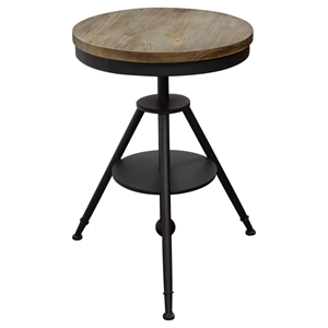 Douglas Adjustable Height Bistro Table - Weathered Gray, Black