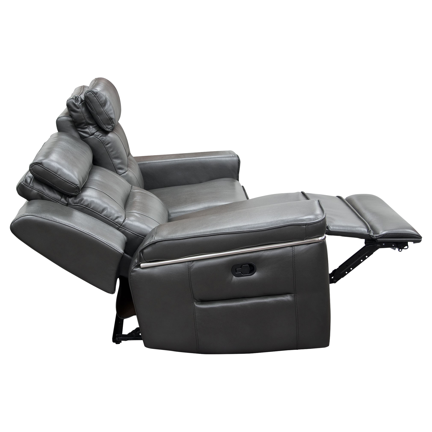 Duncan Dual Reclining Loveseat - Leatherette, Slate Gray - DS-DUNCANRLOGR
