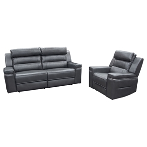 Duncan Dual Reclining Sofa and Armchair - Leatherette, Slate Gray
