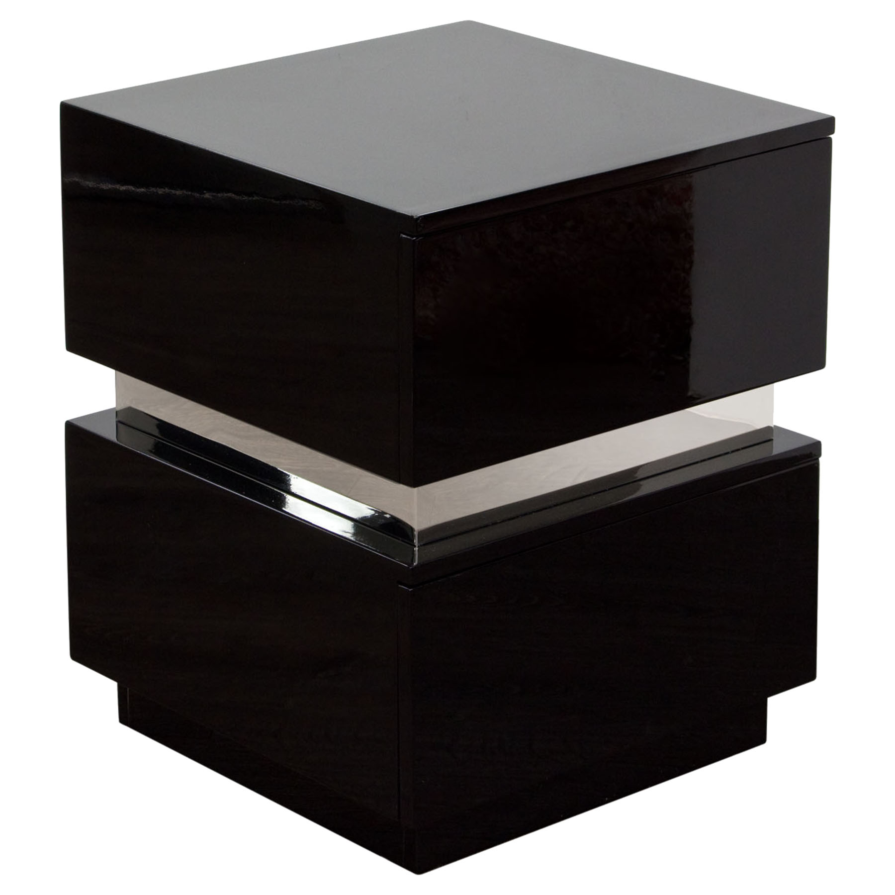 Elle 2 Drawers Accent Table   High Gloss Black