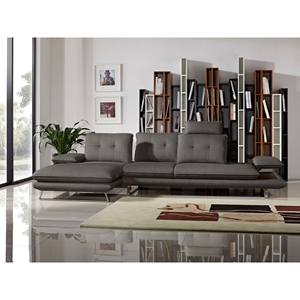 Eva 2 Pieces Sectional with Left Arm Facing Chaise - Adjustable Backs, Gray