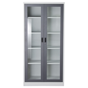 Nova Qwik Metal Bookcase - Key Lock Entry, 5 Shelves, Dark Gray, White