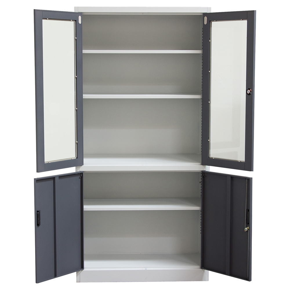 Nova qwik 4 doors bookcase key lock entry 5 shelves for Off the shelf cabinets