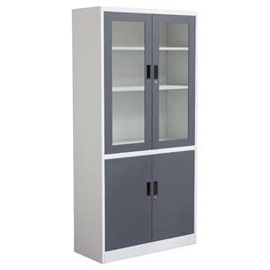 Nova Qwik 4 Doors Bookcase - Key Lock Entry, 5 Shelves, Dark Gray, White
