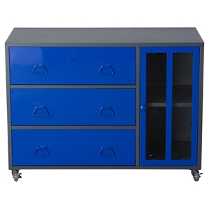 Nova Qwik Storage Cabinet - 1 Door, 3 Drawers, Blue, Dark Gray