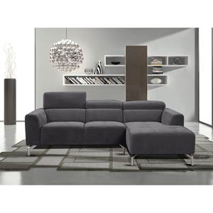 Gemma 2-Piece Sectional with Right Arm Facing Chaise - Adjustable Headrests, Gray