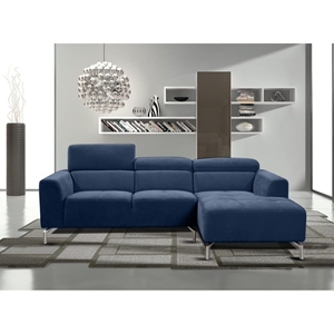 Gemma 2-Piece Sectional with Right Arm Facing Chaise - Adjustable Headrest, Navy Blue