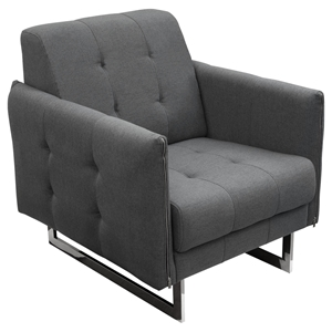 Hampton Convertible Tufted Armchair - Graphite Fabric