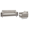 Hampton Convertible Tufted Sofa and Chair - Sandstone Fabric - DS-HAMPTONSCSS