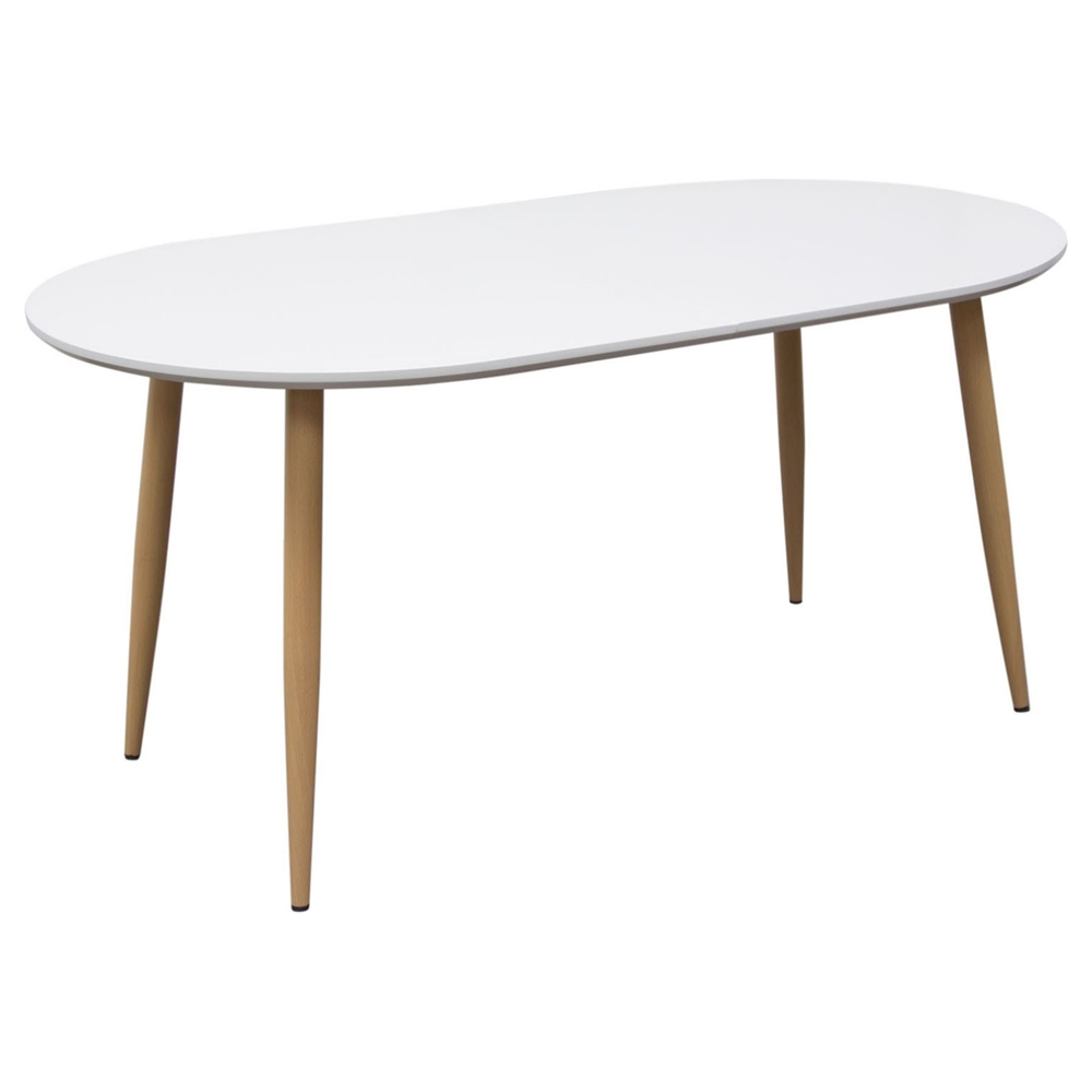 Ion oval extension dining table white dcg stores for Extension dining table