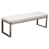 Knox Leatherette Backless Bench - Tufted, White - DS-KNOXBRWH