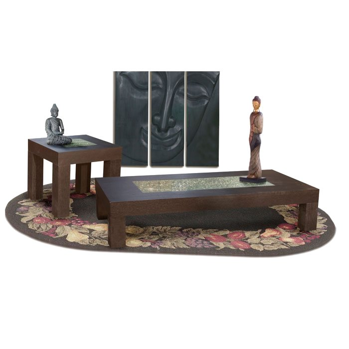 59 Inch Cocktail Table with Crackled Glass Inset - DS-L0727A