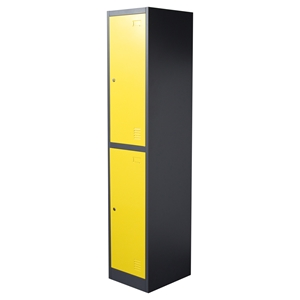 Nova Qwik Metal Storage Locker Cabinet - 2 Door, Yellow, Dark Gray