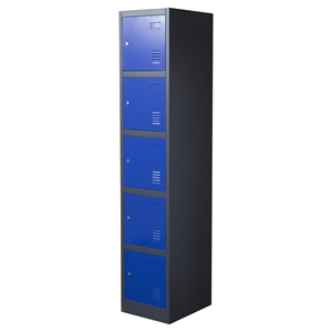 Nova Qwik Metal Storage Locker Cabinet - 5 Doors, Blue, Dark Gray