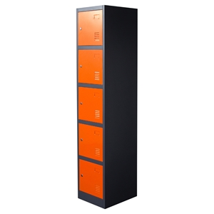 Nova Qwik Metal Storage Locker Cabinet - 5 Doors, Orange, Dark Gray