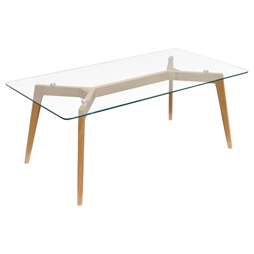 Monarch Rectangle Cocktail Table Glass Top Clear Oak Dcg Stores