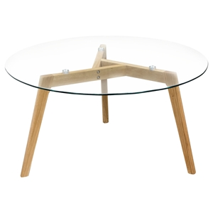 Monarch Round Cocktail Table - Glass Top, Clear, Oak