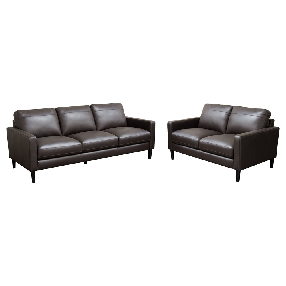 Omega 2 Pieces Full Leather Sofa Set - Dark Chocolate | DCG Stores
