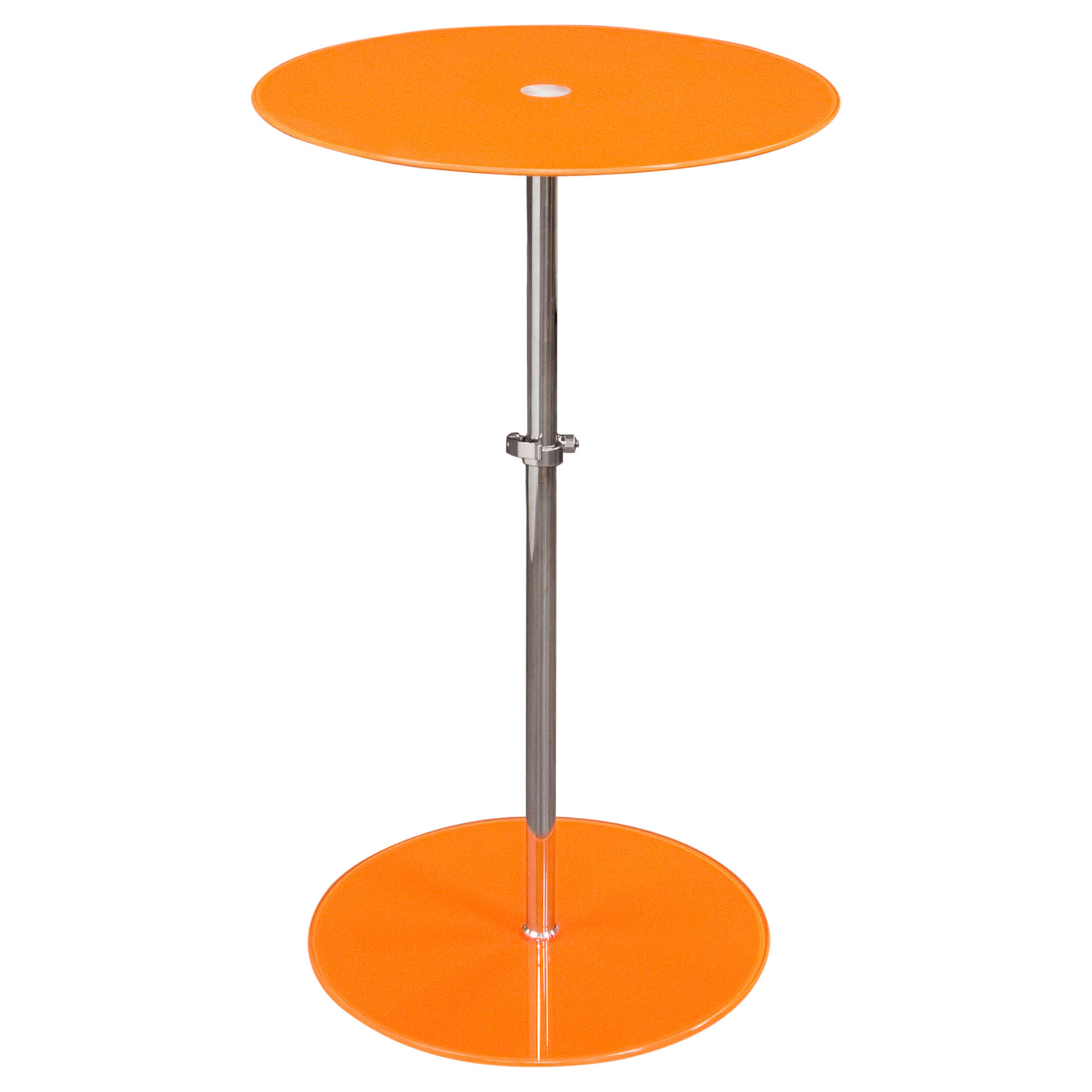 Orbit Glass Accent Table   Adjustable Height, Orange, Chrome