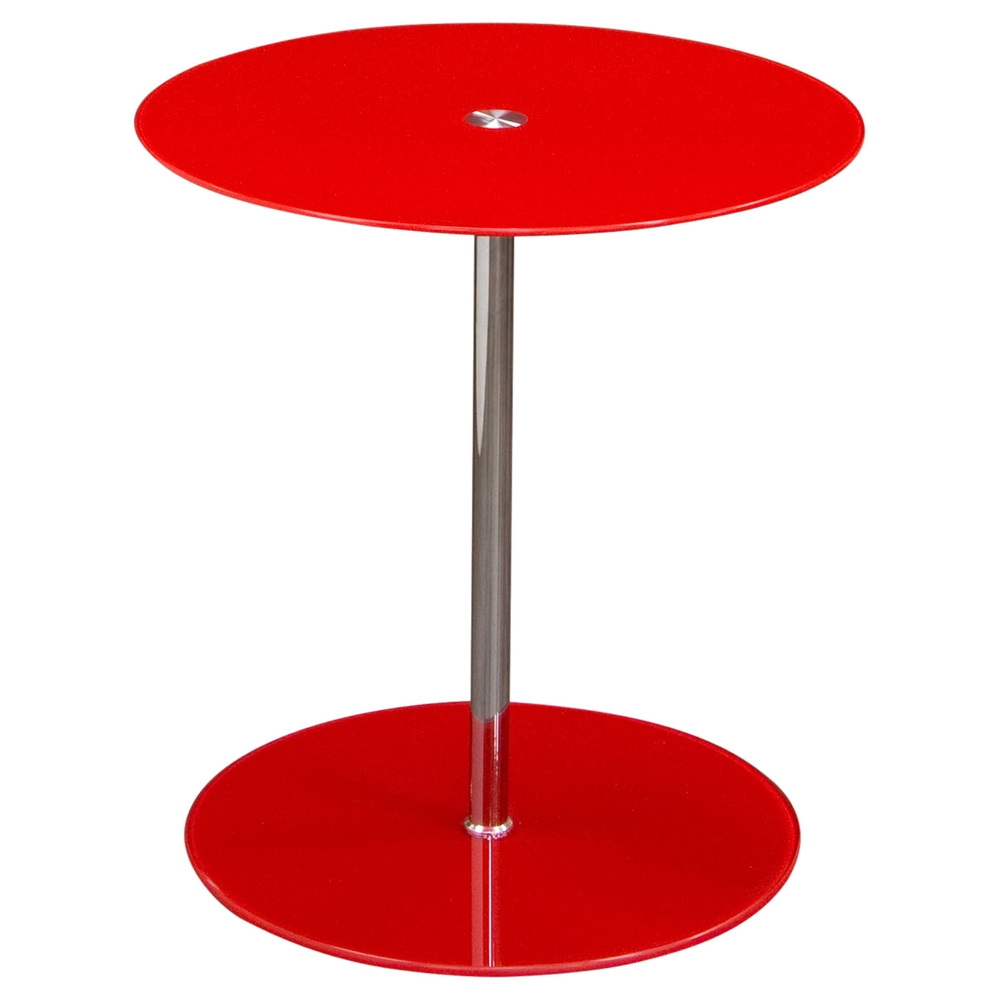 Orbit Glass Accent Table Adjustable Height Red Chrome