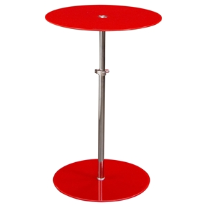 Orbit Glass Accent Table - Adjustable Height, Red, Chrome