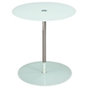 Orbit Glass Accent Table - Adjustable Height, White, Chrome - DS-ORBITETWH
