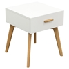 Perch End Table - 1 Drawer, White, Oak - DS-PERCHETWH