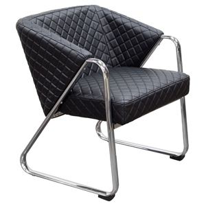 Accent Chair - Diamond Tufted, Black, Chrome