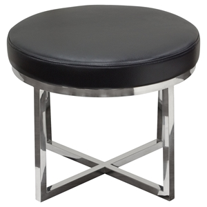 Ritz Round Accent Stool - Black, Polished Stainless Steel