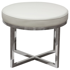 Ritz Round Accent Stool - White, Polished Stainless Steel
