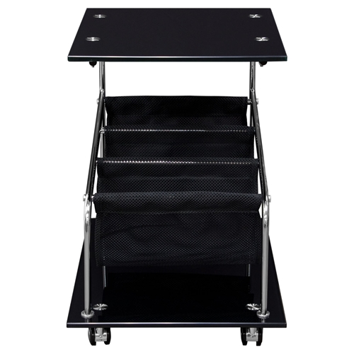 Rocket Castered Accent Table Storage Glass Top Black