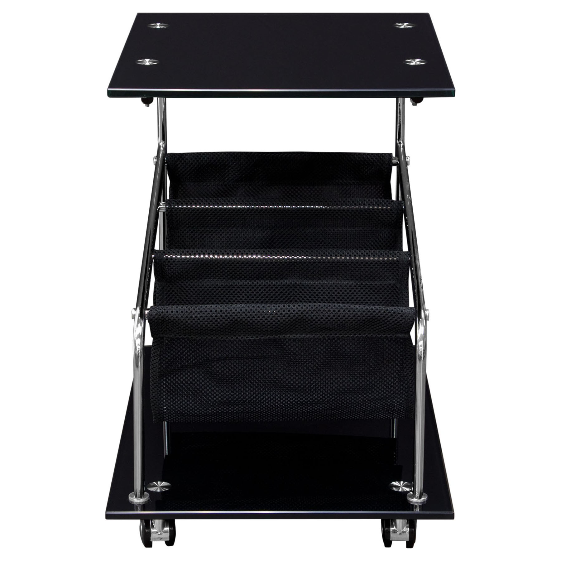 Rocket Castered Accent Table   Storage, Glass Top, Black