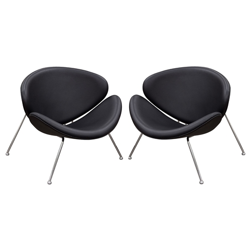 Roxy Accent Chair Chrome Black Set Of 2 Dcg Stores