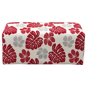 Scarlett Patterned Fabric Ottoman - Rouge Floral