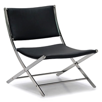 Sling Accent / Dining Chair - Black Leather, Steel Frame