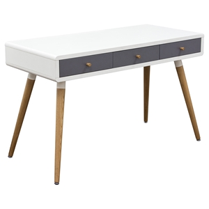 Sonic Desk Table - 3 Drawers, White, Gray, Oak