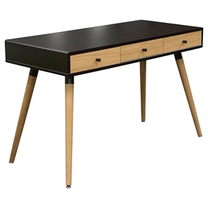 Sonic Desk Table - 3 Drawers, Black, Oak